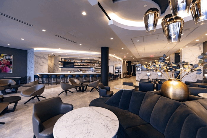 United Polaris lounge seating area at LAX