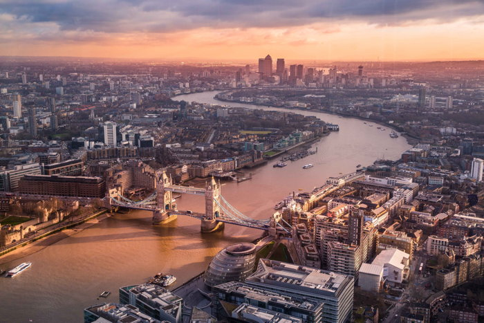 Aerial view of London - Photo by Luca Micheli on Unsplash