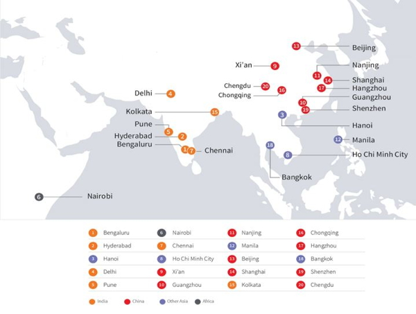 Map - JLL City Momentum Index: The World's Top 20 Most Dynamic Cities