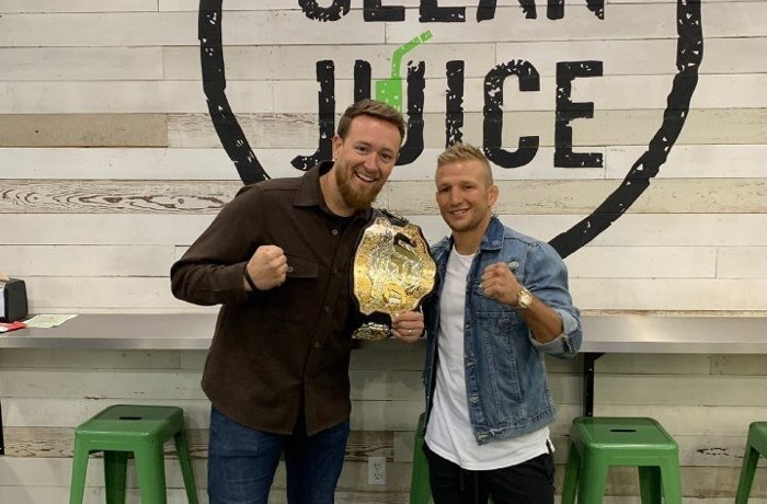 Founder and Chief Executive Officer Landon Eckles with Dillashaw in Charlotte in late 2018