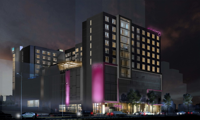 Rendering of the dual-branded AC Hotel Atlanta Midtown and Moxy Atlanta Midtown