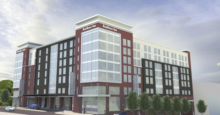 Rendering of the Dual-Branded Residence Inn and SpringHill Suites Hotel in Greenville, SC