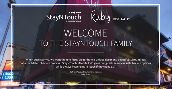 Ruby Hospitality and StayNTouch logos