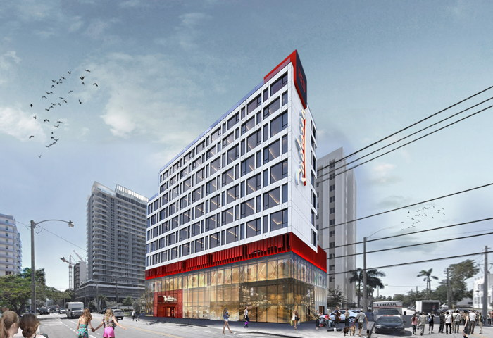 Rendering of the Radisson RED Miami Brickell Hotel