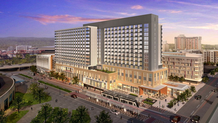 Rendering of the Hyatt Regency Portland at Oregon Convention Center