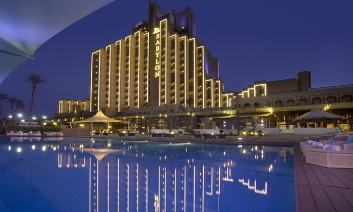 Babylon Rotana Baghdad Hotel - Exterior at night