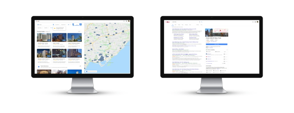 Google Hotel Search Interface on two computer screens
