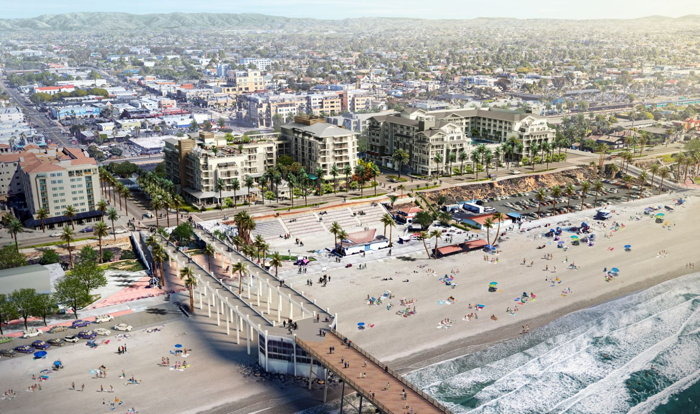 Rendering of the Joie de Vivre Hotels and Destination Hotels properties in Oceanside, California