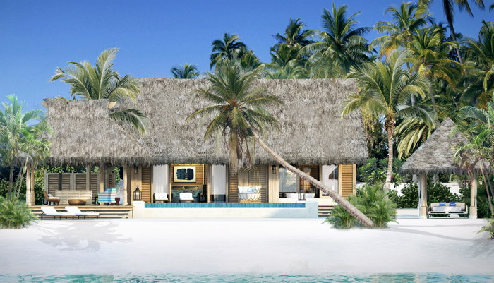 Rendering of a villa at the Waldorf Astoria Maldives Ithaafushi