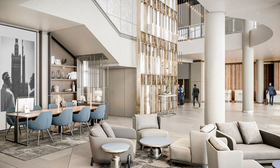 Rendering of the Radisson Collection Hotel Warsaw lobby