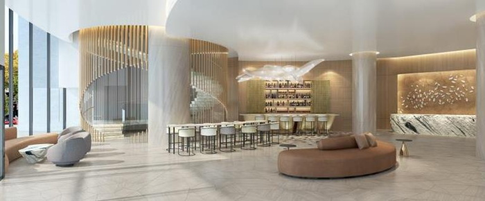 Rendering of the InterContinental Bellevue at The Avenue Hotel lobby