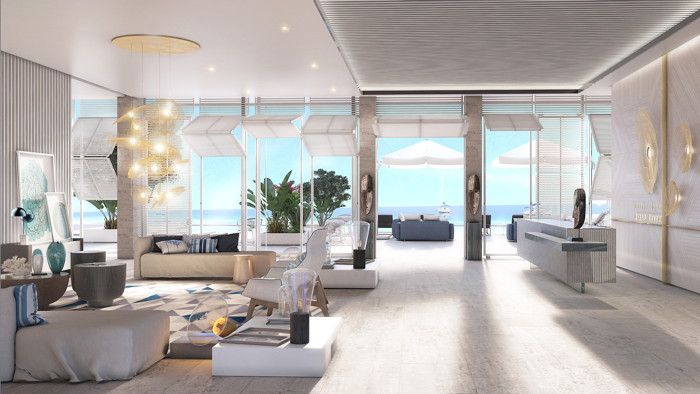 Rendering of a villat at the Curio Collection by Hilton Hotel in the Cayman Islands