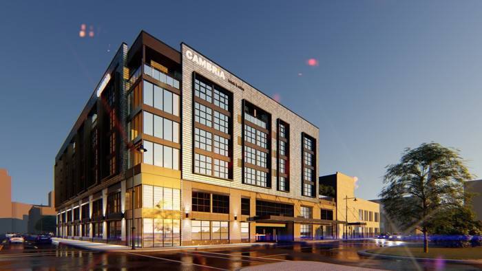 Rendering of the Cambria Hotel in Detroit