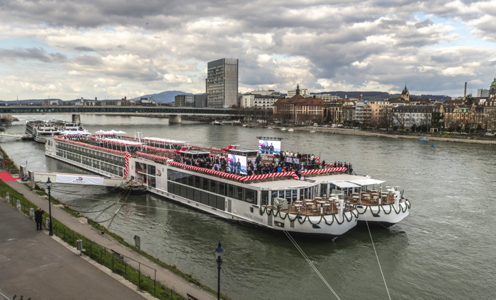 Two of Viking's newest river ships, Viking Einar and Viking Sigrun, during the naming ceremony in Basel, Switzerland.