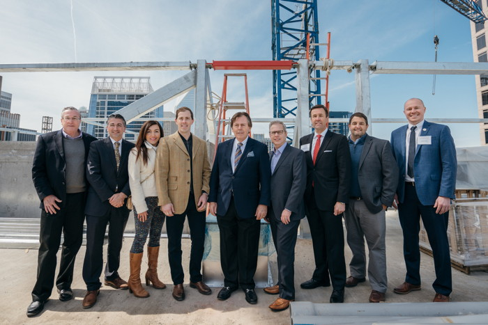 Officials at the Grand Bohemian Hotel Charlotte Topping Out Ceremony
