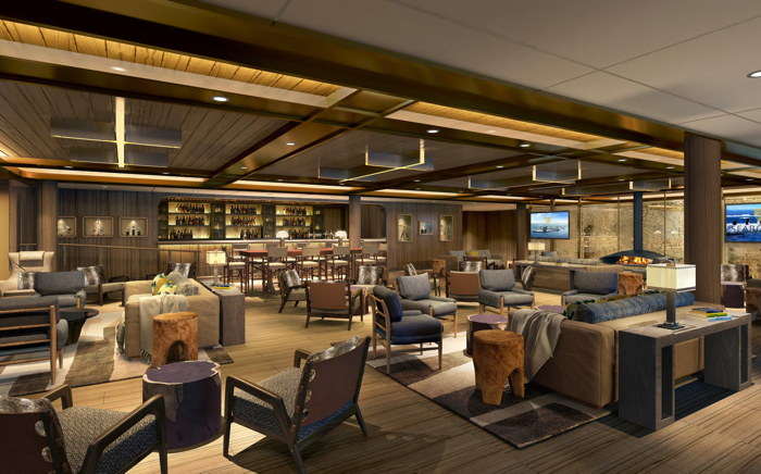 Rendering of a Lounge on a Seabourn Ship