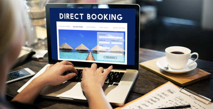 The words 'direct booking' on a computer screen