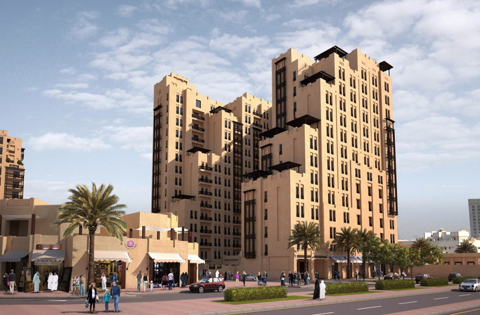 Rendering of the Hyatt Place Dubai / Wasl District Hotel
