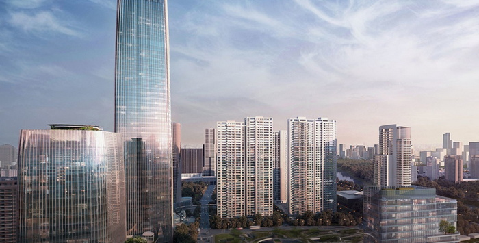 Rendering of the Rosewood Ningbo Hotel to Open 2024 in China