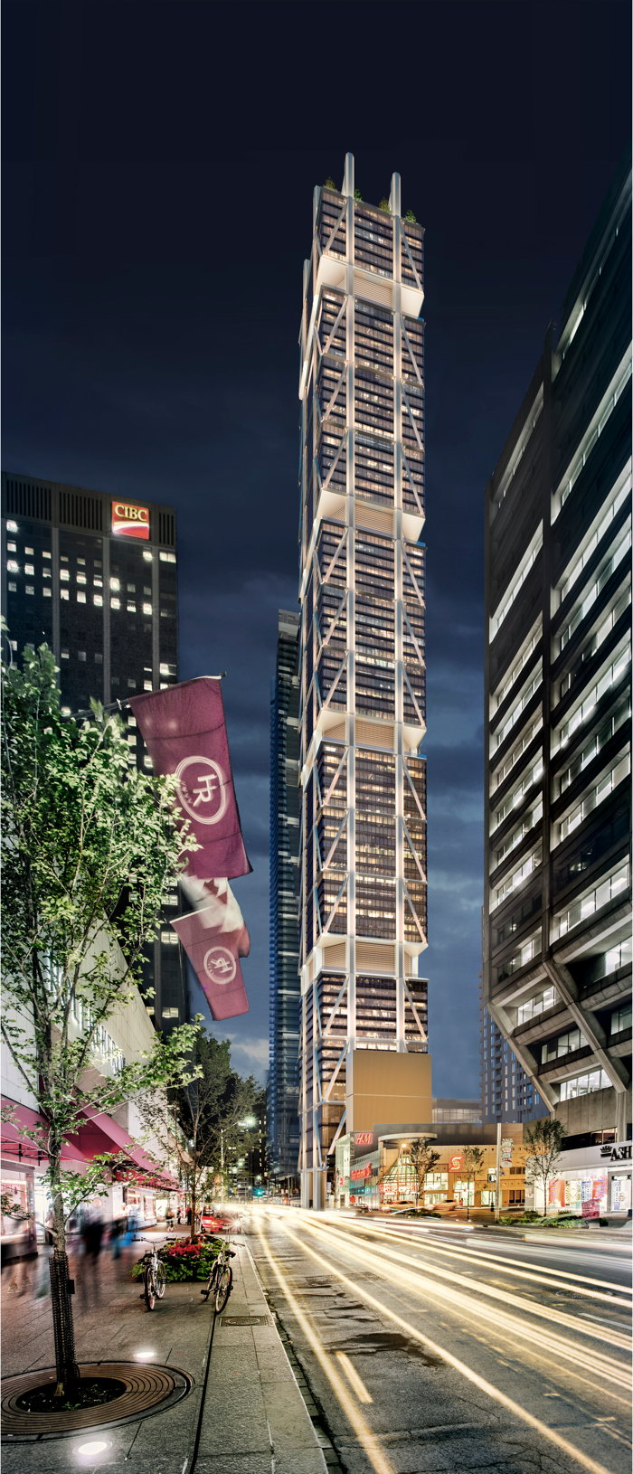 Rendering of the exterior of The One at One Bloor Street West, which will feature the first Andaz hotel in Toronto.