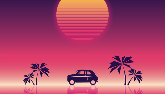 Illustration - car and palm trees