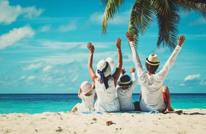 A family on a beach