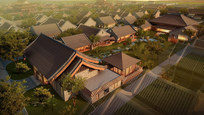 Rendering of the JW Marriott Hotel Qufu - Aerial view