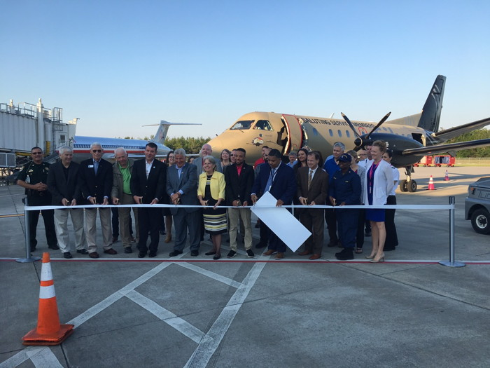 Silver Airways team members, Okaloosa County officials and Invisible Wounds Center launch first flight from Destin to Orlando