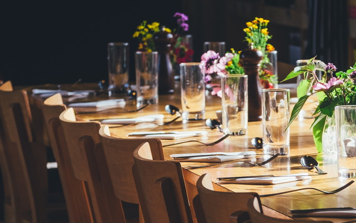 dining table with drinking high glass and fork - Photo by Annie Spratt on Unsplash