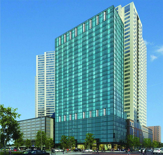 Rendering of the Dual-Branded Hilton Garden Inn and Homewood Suites by Hilton Hotel in Chicago