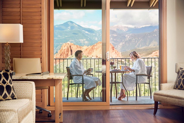 A guestroom at the Garden of the Gods Resort