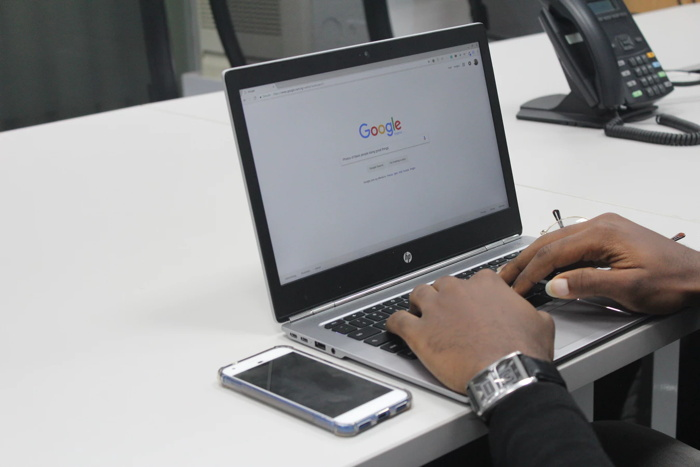 Google site on a laptop