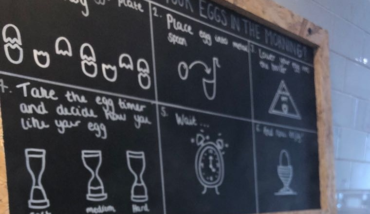 Blackboard at the Eggs & Bread in Walthamstow
