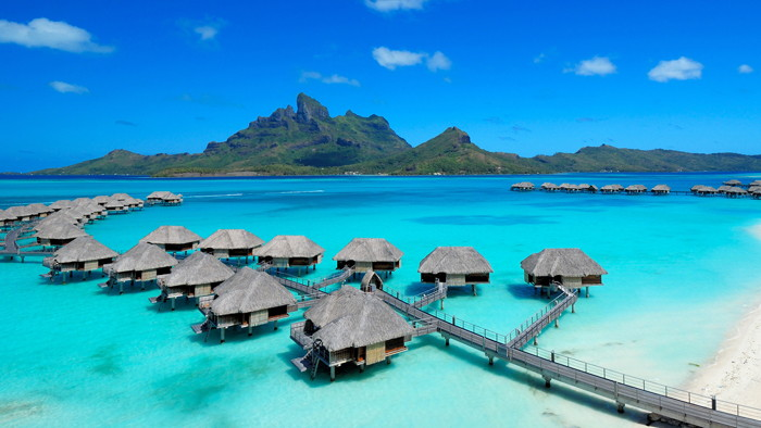 Overwater bungalow suites at the Four Seasons Resort Bora Bora