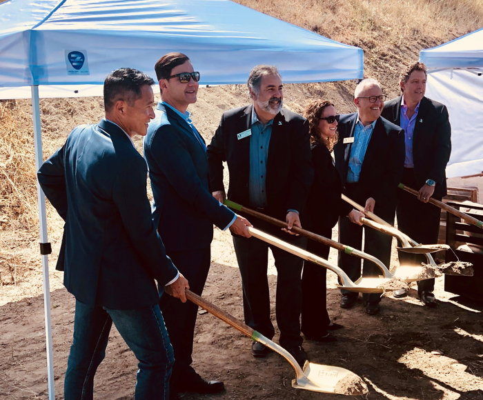 From left to right: Paul Kristedja, founding partner of KPRS (contractor); Richard Weintraub, president and CEO of Weintraub Real Estate Group; Mayor David Shapiro; Mayor Pro Tem Alicia Bartley; Councilmember Fred Gaines; and Scott Lockwood, director of development, western US, Cambria Hotels.