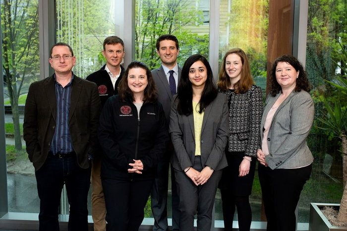 Pictured (L-R): Mark Milstein, Ph.D. – Clinical Dir. of Management & Director, Center for Sustainable Global Enterprise; Nathan Gassmann – Manager, Global Sustainability Subway; Andrea Seek – Director, Global Sustainability Subway; Zach Cohen – Cornell SGE Student; Sumaiya Jaweed – Cornell Cornell SGE Student; Leah Lyden – Cornell SGE Student; Pamela R. Graybeal – Cornell SGE Student. (Photo Credit: Simply Alexis Photography)