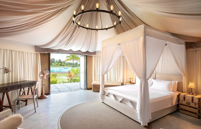 Tent interior at Natra Bintan