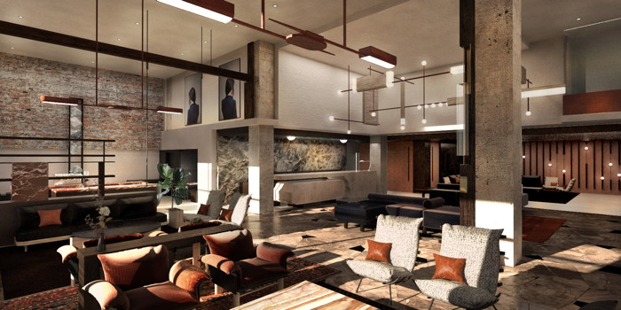 Rendering of the Thompson Denver Hotel - lobby