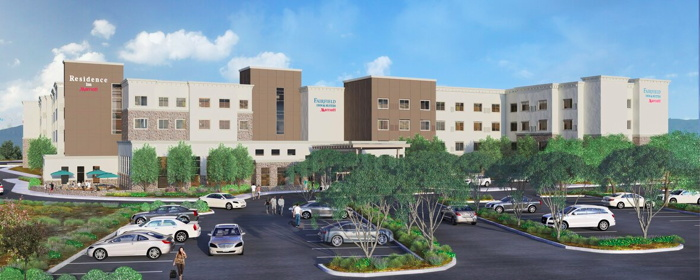 Rendering of the Dual-Branded Residence Inn and Fairfield by Marriott in San Jose, California