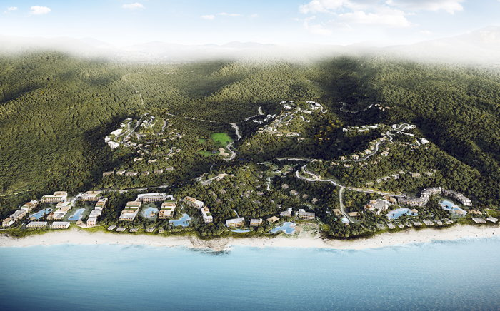 A rendering of Nia, the planned all-inclusive destination with four Marriott International brands including The Ritz-Carlton and Westin Hotels