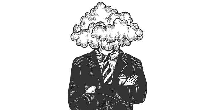 Illustration - a head in the clouds
