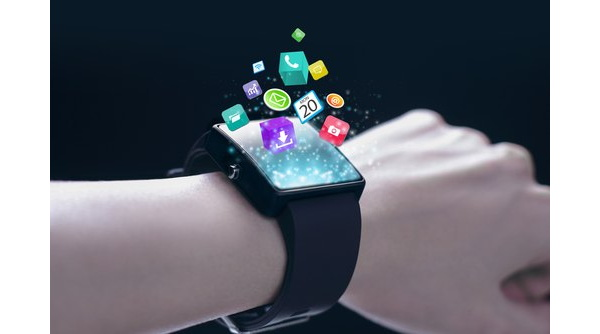 Illustration - smart watch withapp icons floating