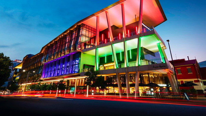 The Brisbane Convention & Exhibition Centre in Australia - Exterior at night