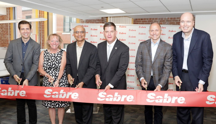 Boston Mayor Marty Walsh and area travel industry leaders attend ribbon cutting