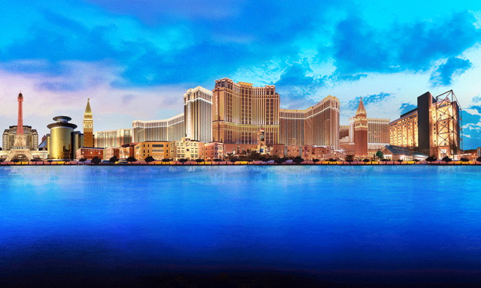Collage of various Las Vegas Sands properties