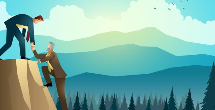 Illustration - a man climbing a mountain