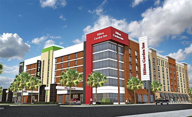 Rendering of the Dual-Brand Hilton Property in Columbia, SC