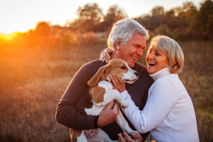A boomer couple and a dog