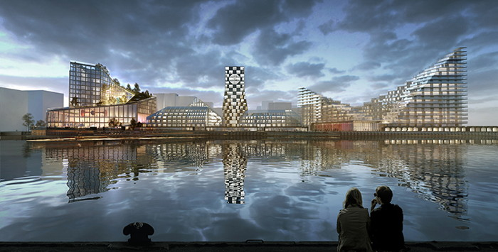 Rendering of the Scandic Hotel and Conference Center in Aarhus Harbor
