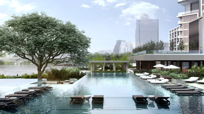 Rendering of the Four Seasons Hotel Bangkok at Chao Phraya River